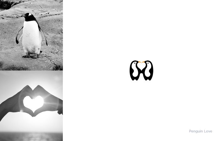 schwarzweißes bild mitpinguine, ein herzchen und zwei hände, logo mit pinguinen, designer shibu pg