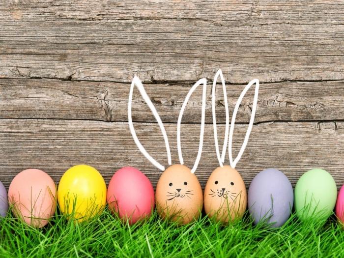 lustige osterbilder ideen, eier dekoriert wie wie hasen, osterhasen basteln, lange ohren