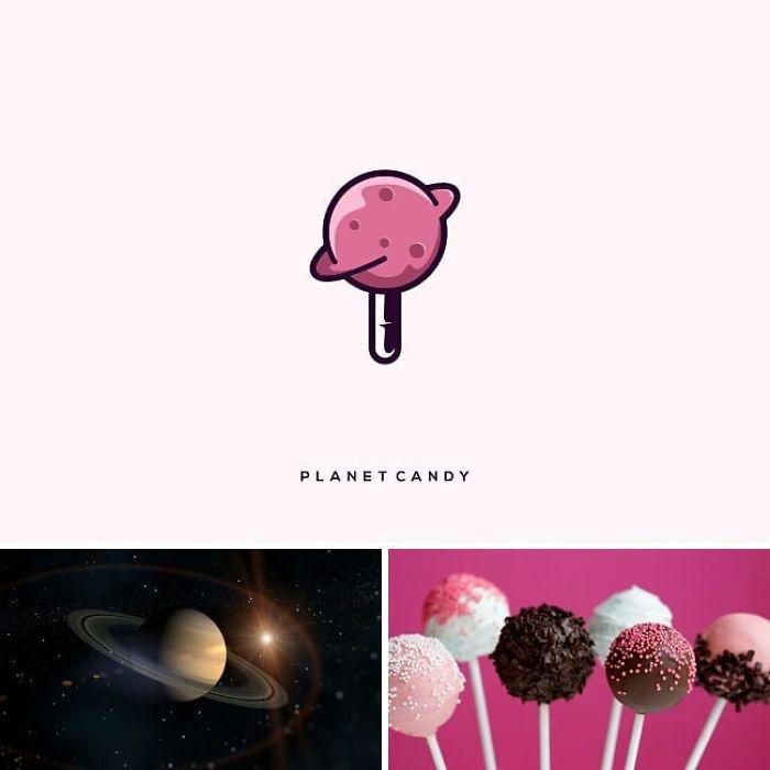 planet cady, markenlogo von dem designer rendy cemix , ein bild mit planeten und sonne und vielen sternen