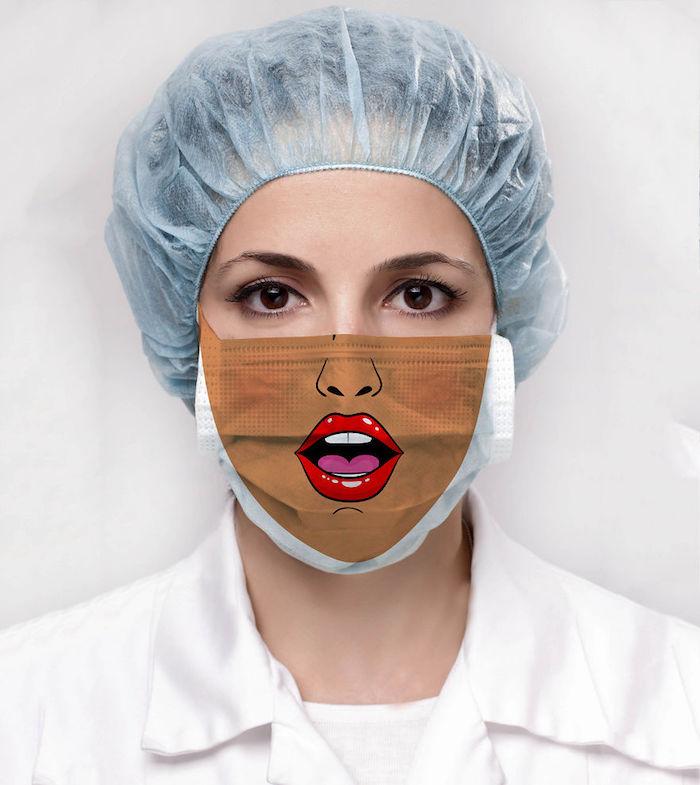 Atemschutzmaske Designs, Mundschutz mit roten Lippen