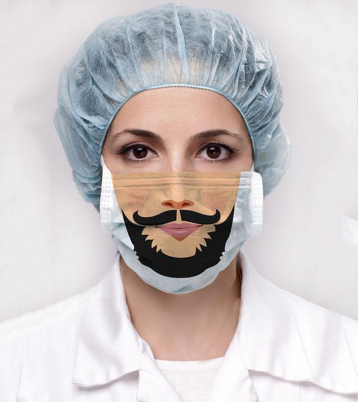 Lustige Mundschutzmasken, Atemschutzmaske mit Schnurrhaaren und Bart