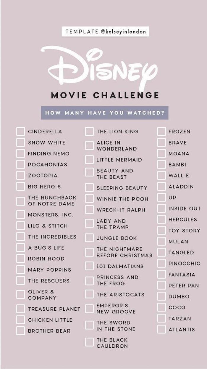 Disney Herausforderung mit 54 Filmtiteln gegen Langeweile zu Hause