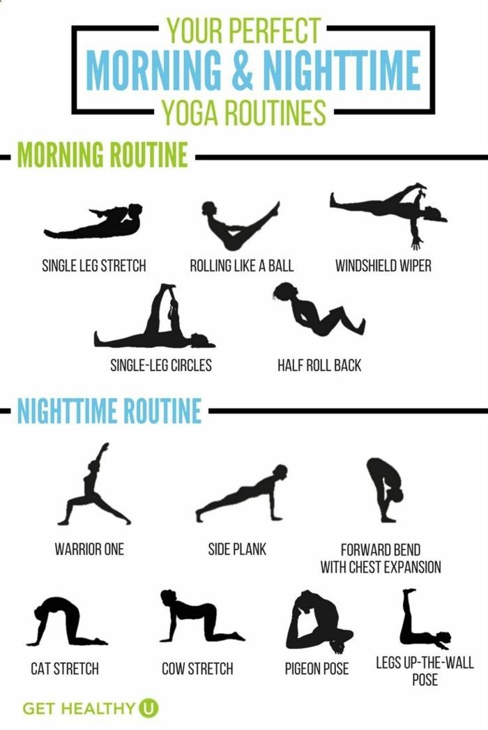 Yoga Übungen für Morgens und Abends, Gesund und fit werden, Kraftübungen ohne Geräte