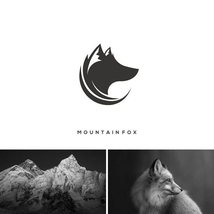 ein markenlogo mit einem fuchs und schee und bergen, designer kombiniert zwei bilder