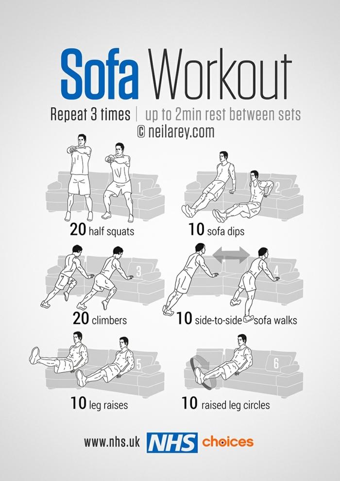 Sport und Übungen machen auf dem Sofa, Oberkörper Training, zu hause trainieren ohne Geräte