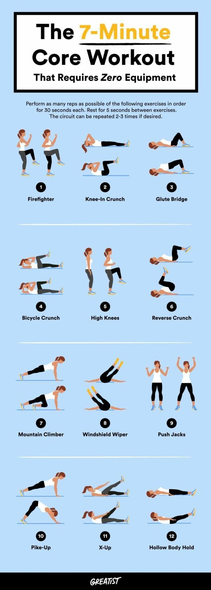 Bauchmuskeln in sieben Minuten trainieren, Oberkörper training, zwölf verschiedene Übungen