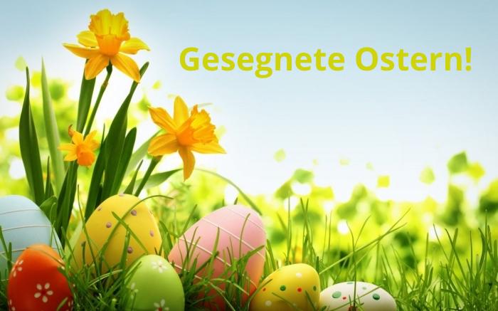 ostergrüße bilder, gelbe frühlingsblumen, eier im glas, gesegnete ostern, wunschkarte