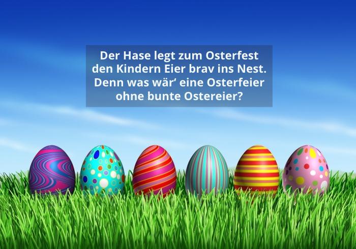 ostergrüße bilder, farbenfrohe osterier, digitales bild, osterbilder ideen, der hase legt zum osterfest den kinder eier brav ins nest