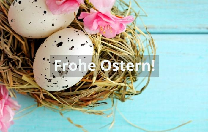 ostergrüße bilder, osterwünsche ideen, frohes osterfest, ostereier, rosa blüten