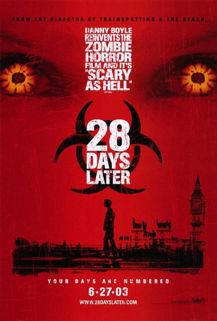 pffizieller poster zu dem film 28 days later, die besten filmen über viren, epidemien und pandemien, london und eine kreatur mit gelben augen