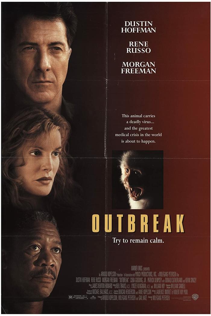 die besten filme über viren und pandemien, offizieller poster zu dem film outbreak mit dem schauspieler dustin hoffman, rene russo, morgan freeman