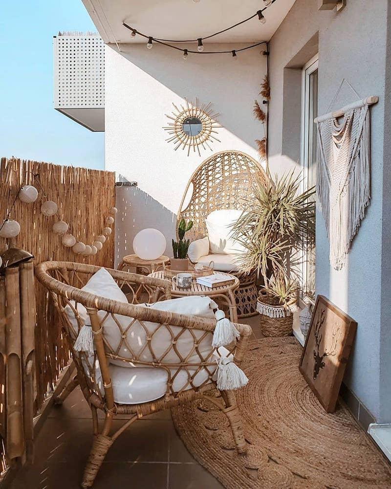 rattanmöbel terrassen deko ideen balkon einrichten modern