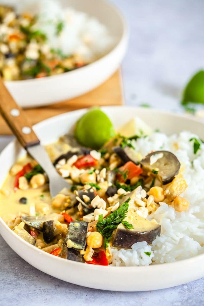 Einfache schnelle Rezepte, veganes Kokos Auberginen Curry mit Reis, vegane Rezepte, Gericht in einer weißen Schale