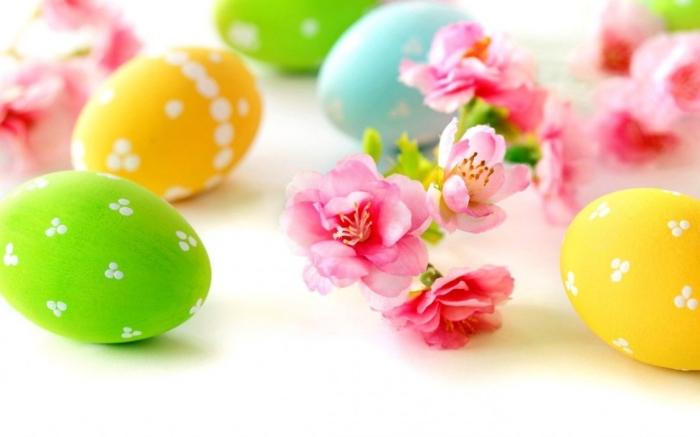 schöne ostern bilder, osterbild mit rosa blüten und farbenfrohen eiernm osterkarte