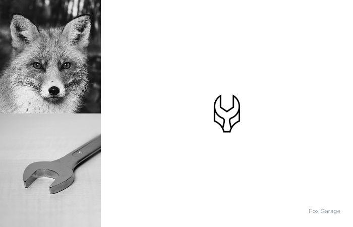 logo mit einem schraubenschlüssel und einem fuchs, ein schwarzweißes bild mit fuchs, shibu pg