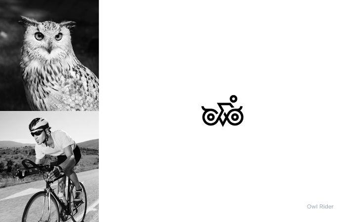 mann mit fahrrad, ein markenlogo von dem designer shibu pg mit einer weißen eule und fahrrad, owl rider