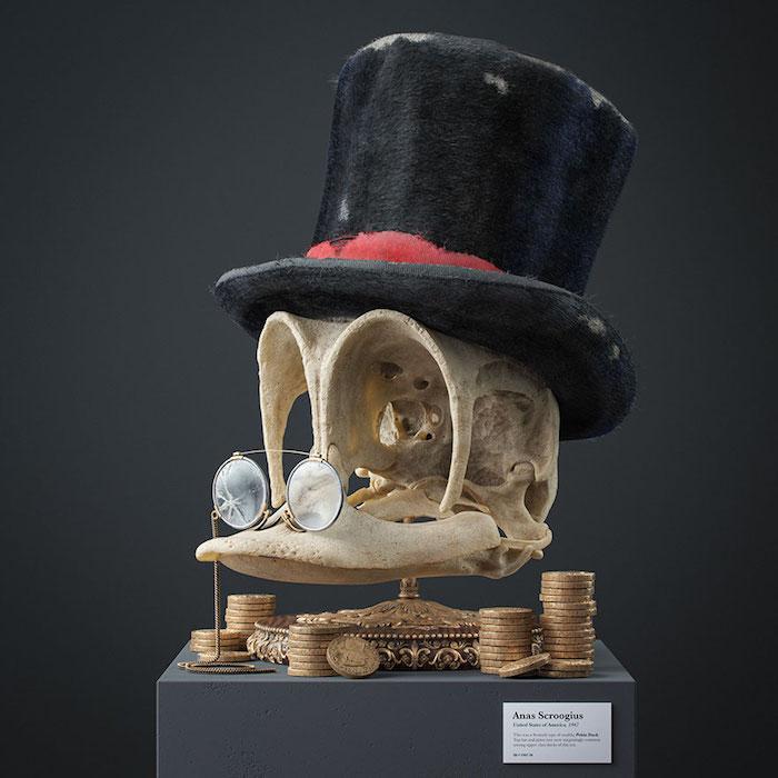 projeckt cartoon fossils von dem designer filip hodas, schädel mit einer schwarzen mütze und brille