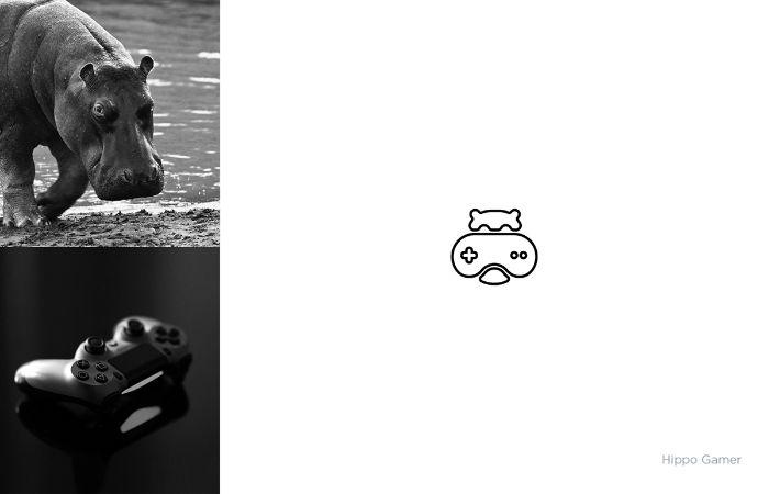 hippo gamer, ein ein markenlogo von dem designer shibu pg mit einem schwarzen joystick und einem nilpferd