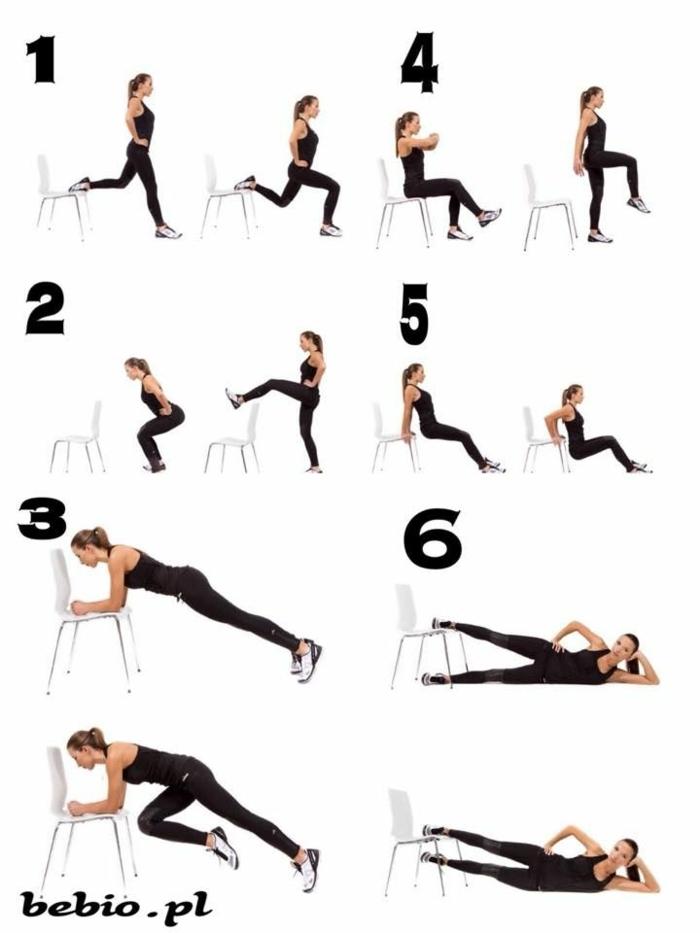 Frau macht Übungen auf einem Stuhl, zu hause Sport treiben ohne Geräte, Beine trainieren, home workout