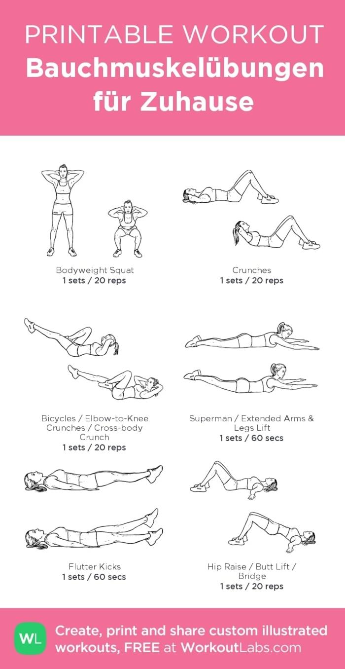 sechs Bauchmuskelübungen für Zuhause mit Erklärungen, Sport für Anfänger, printable Workout