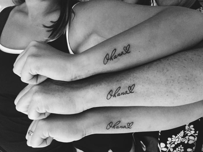 symbol für familie, identische tätowierungen, beliebte tattoo motive für geschwister, ohana