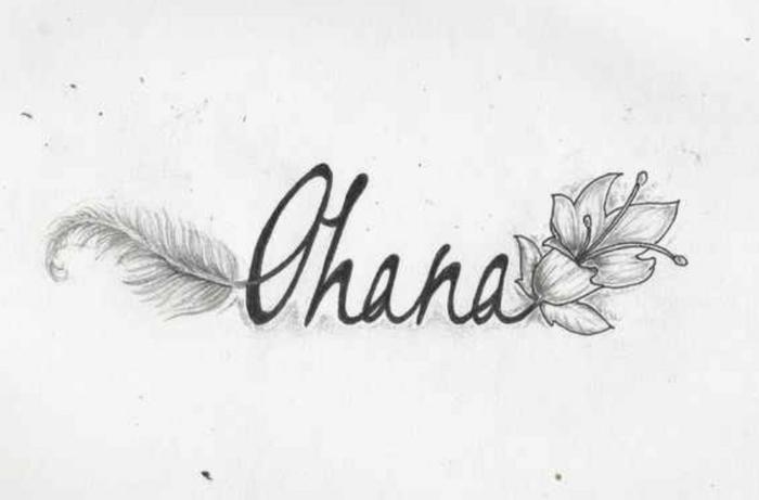 symbol für familie, ohana feder und hibiskusblüte, tattoo vorlage, ohana bedeutung