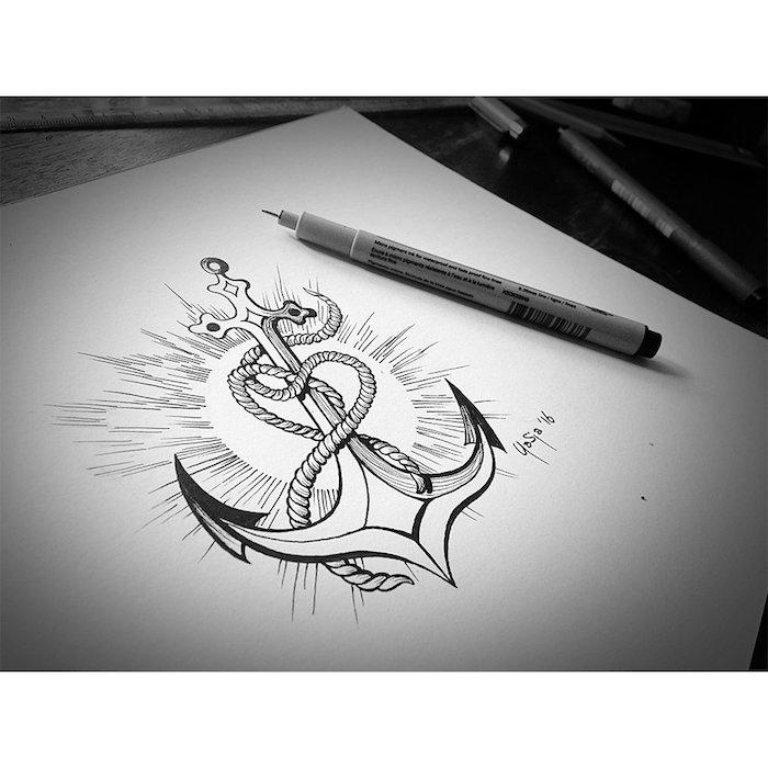 Tattoo Design, Anker und Kreuz, Herz aus Seil, Glaube Liebe Hoffnung Tattoo