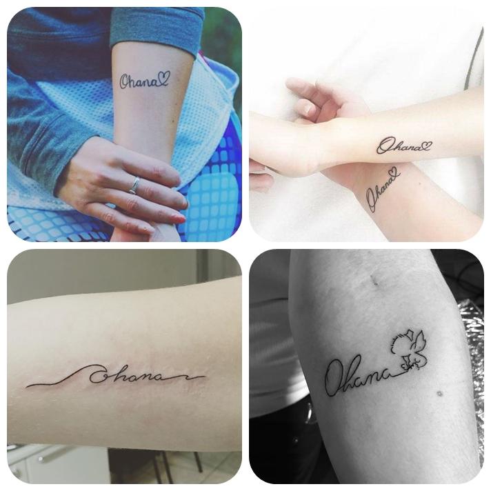 tattoo faimilie, ohana bedeutung, kleine tätowierungen ideen, simple designs