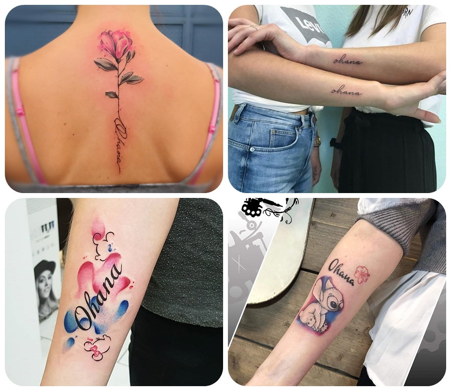 tattoo familie, tätowierungen für geshcwister, die besten desaigns für frauen, rosa blue am rücken