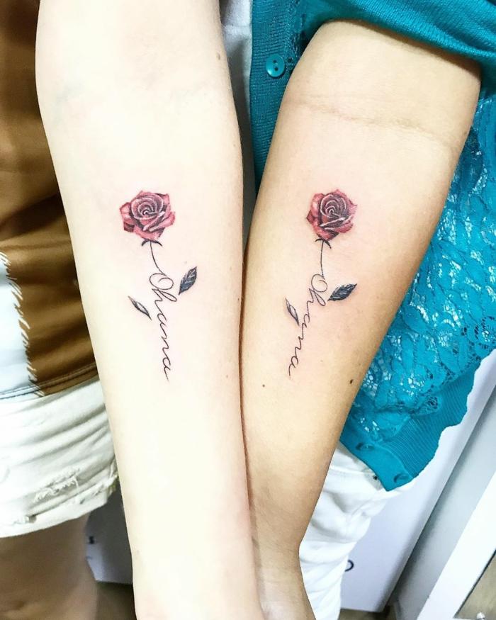 tattoo ideen familie, motive für geschwister, rote rosen, kleine tätowierungen für schwester