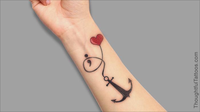 Unterarm Tattoo, Anker und rotes Herz, Semikolon Tattoo