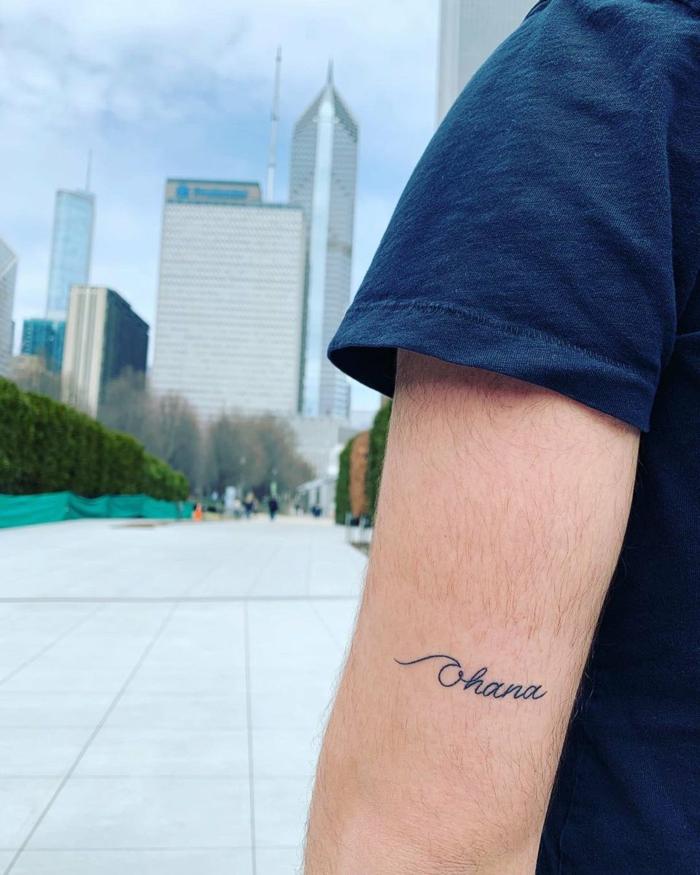 tattoo sprüche familie, kleine motive für geschwistwer, simples design, ohana