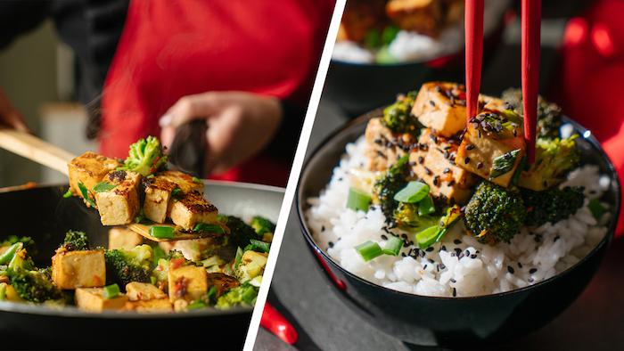Schnelles Tofu Rezept, Seidentofu in Würfeln mit Gemüse auf Reis