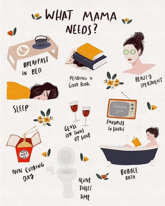 Dinge die jede Mama braucht, Frühstück im Bett, gutes Buch und Schönheitsrituale, mehr schlafen und Glas Wein