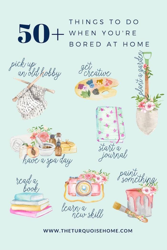 50 Ideen gegen Langeweile, Spa Tag, kreative Tätigkeiten, altes Hobby, etwas malen oder gärtnern