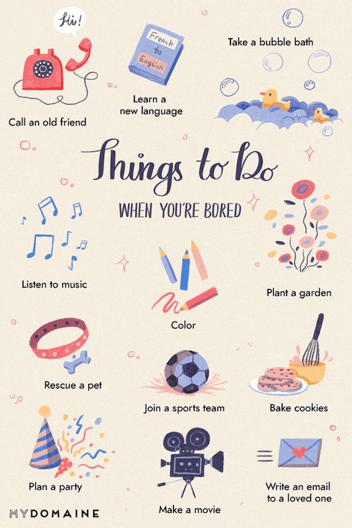 Ideen gegen Langeweile zu Hause während der Corona-Quarantäne, neue Fremdsprache erlernen, Musik hören, ausmalen oder gärtnern, Party planen, Kekse backen