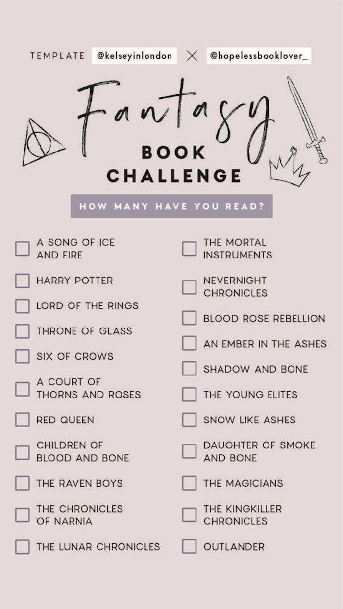 Fantasy Bücher Herausforderung gegen Langeweile, Liste mit 22 Titeln