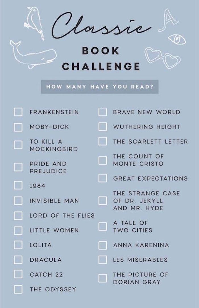 Klassische Bücher Herausforderung gegen Langeweile, Liste mit 22 Titeln