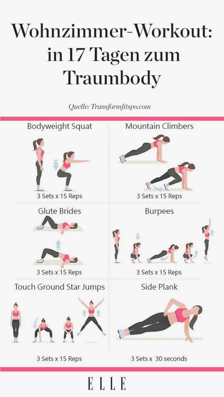 Wohnzimmer Workout, Traumbody in Siebzehn Zagen ohne Geräte, fitnessübungen für zuhause