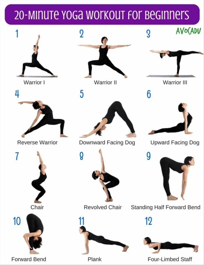zwanzig Minuten Yoga Workout für Anfänger, zwölf Posen, sportübungen für zuhause, Frau macht Übungen vor