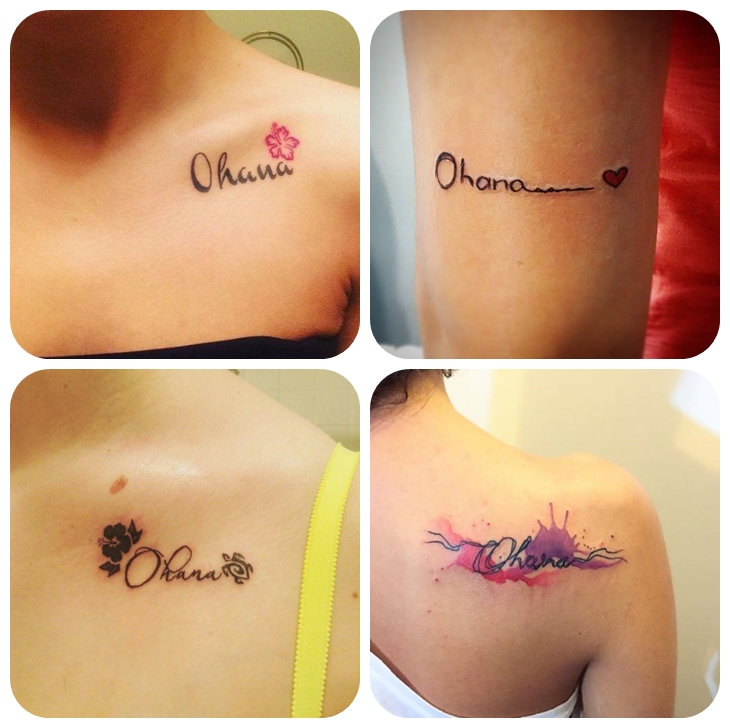 zeichen für fmailie, hibiskus tattoo, kleine tätowierungen für frauen, ohana bedeutung