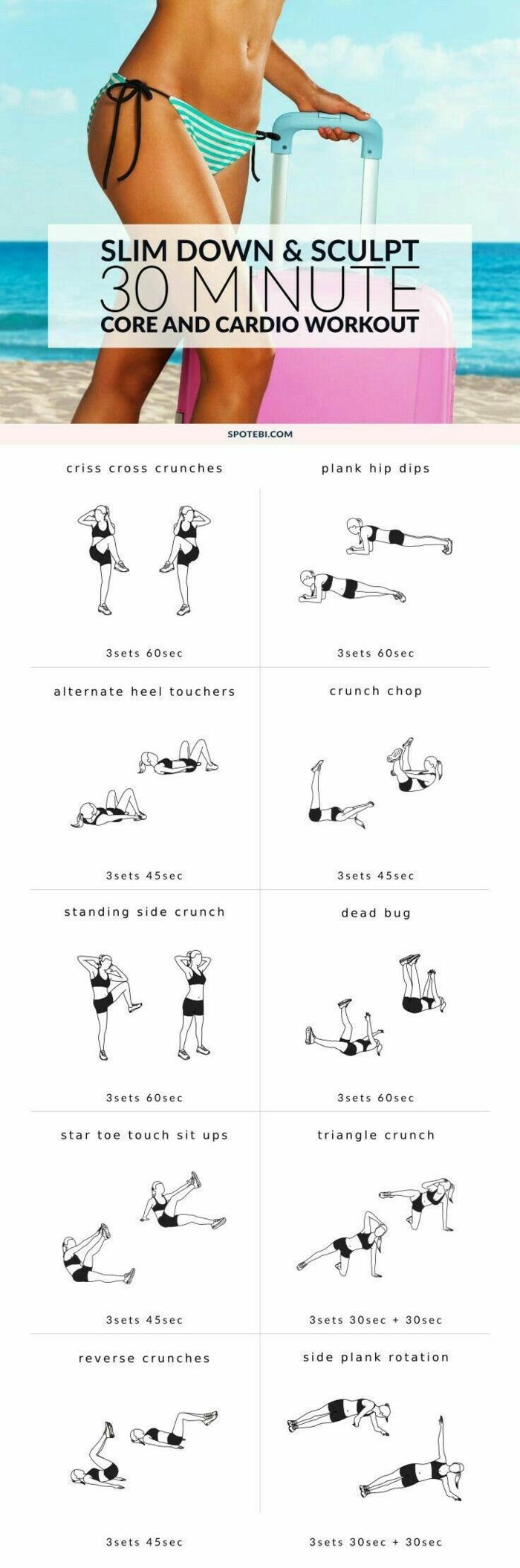 dreißig Minuten Übungen machen und Körper straffen, fit ohne Geräte trainieren mit dem eigenen Körpergewicht