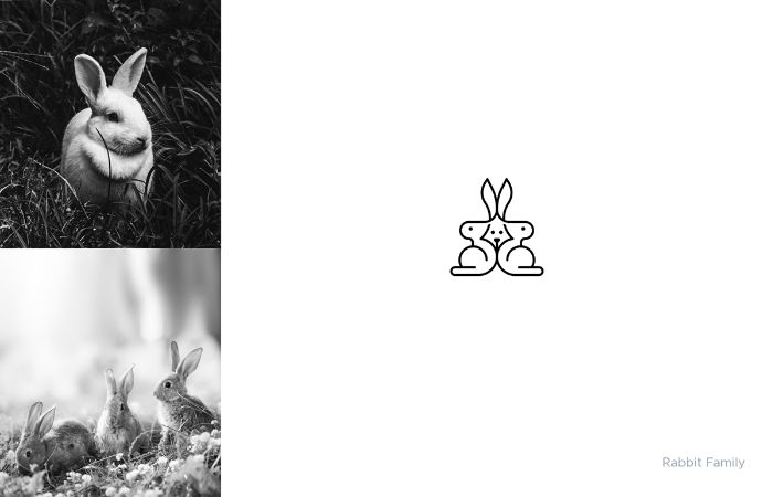 logo rabbit family von dem designer shibu pg, zwei bilder mit weißen hasen, ein markenlogo