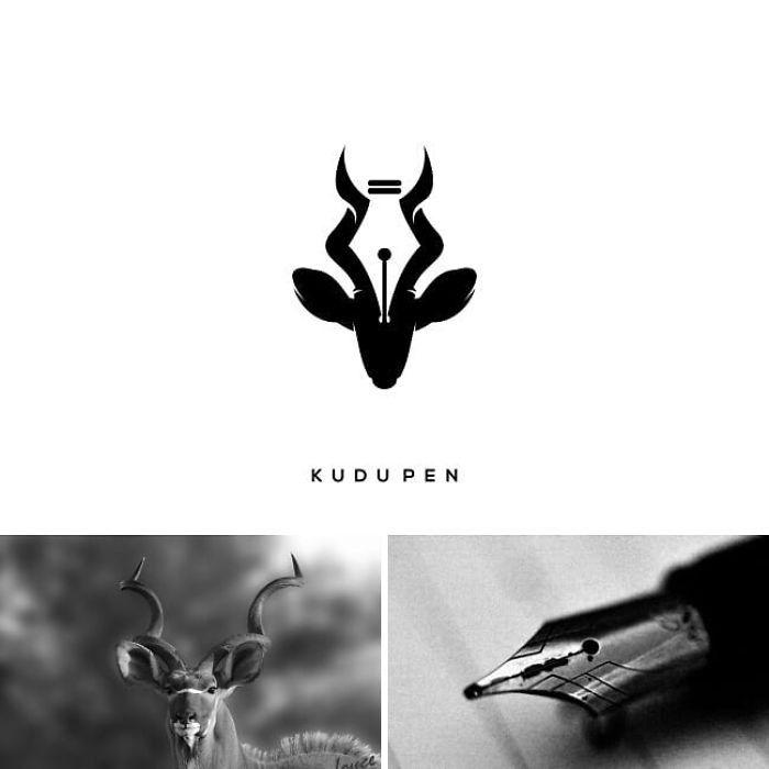 antilope und ein füller, kudupen, ein designerlogo von dem künstler shigu pg