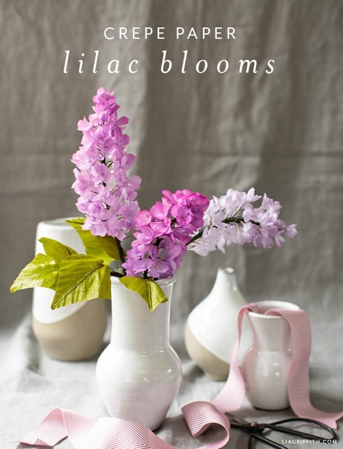 basteln mit krepppapier, papierblumen basteln, frühlingsdeko selber machen ideen