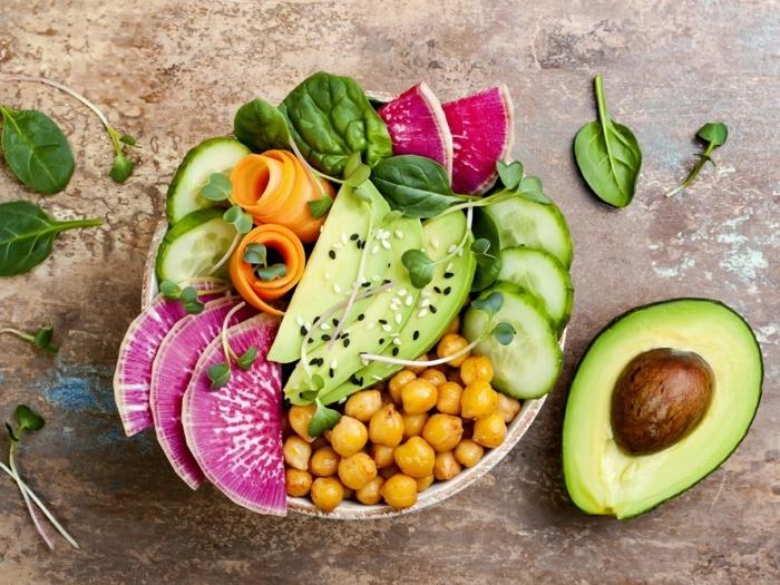 einfache salate rezepte, kichererbsen mit avocado, basilikum und gurken, healthy bowl