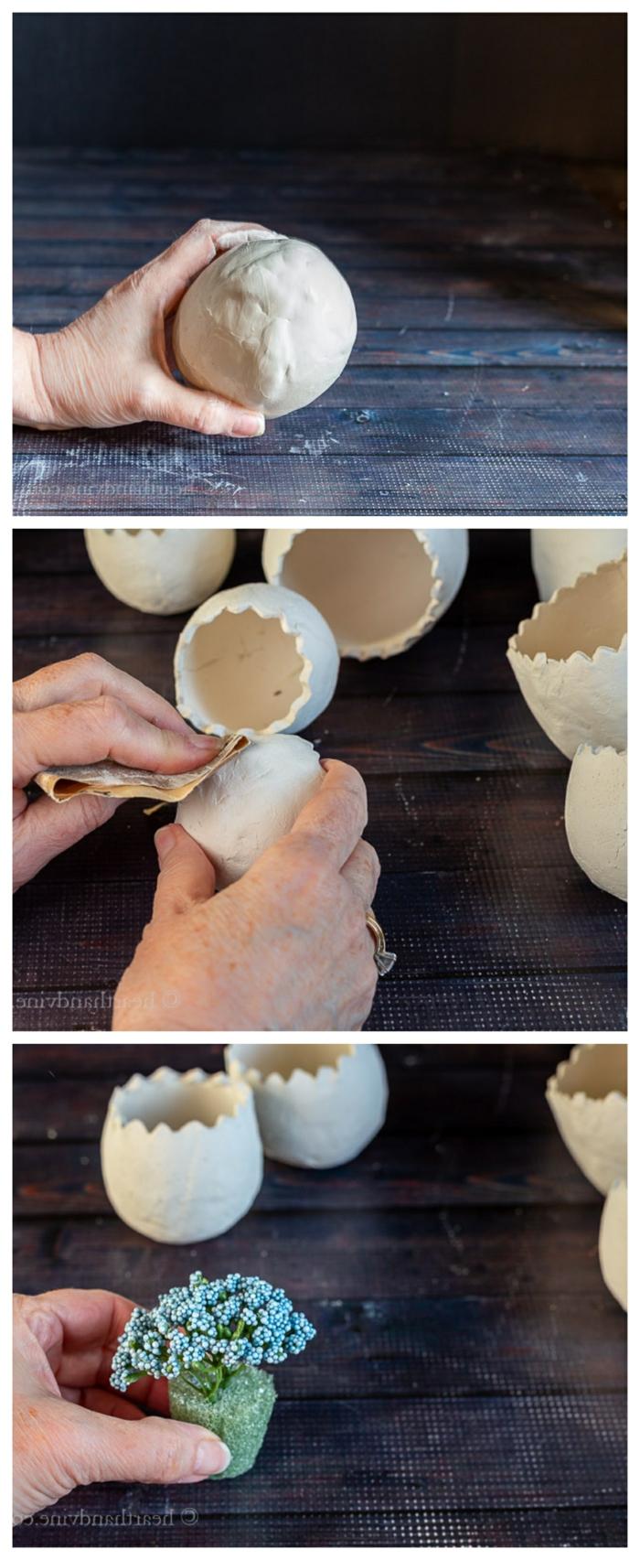 Schritt für Schritt Collage DIY Anleitung für Pflanzer aus Ton, Hand glättet Ton, Pinterest Deko