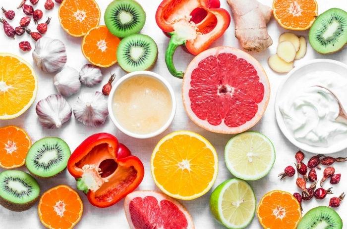 natürliche mittel zur stärung des immunsystems, gemüse und obst mit viel vitamin c, papria, zitrusfrüchte