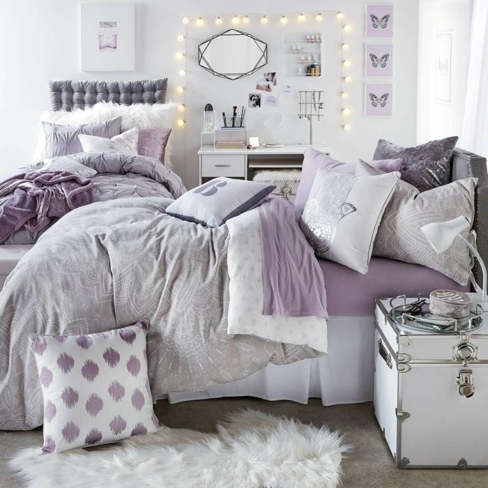 tumblr zimmer deko ideen, zimmerdeko in grau und lila, jugendzimmer gestaltung in grau und lila