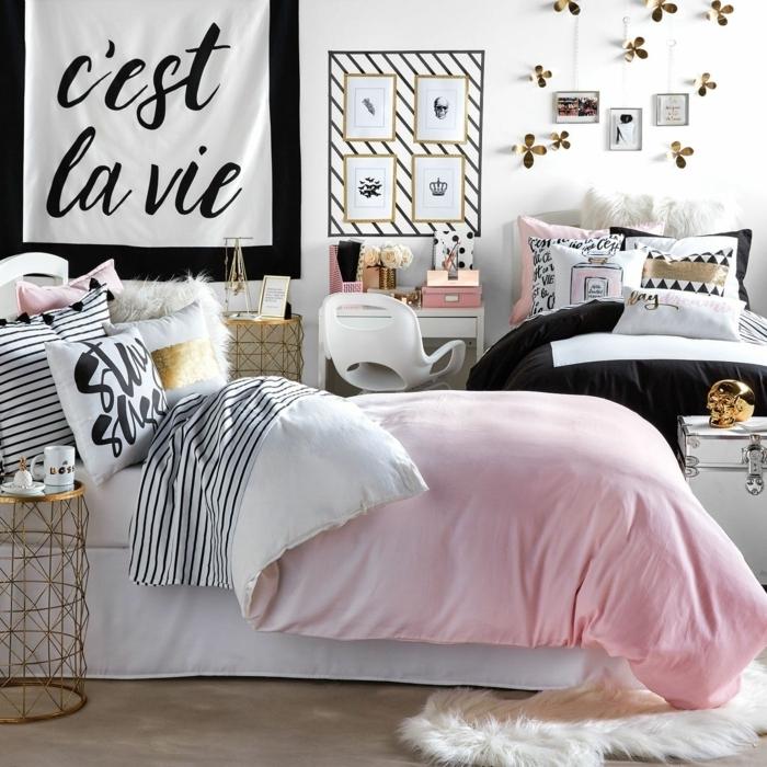 tumblr zimmer deko, jugendzimmer einrichten und dekorieren, wanddeko mit bildern und 3d stickers